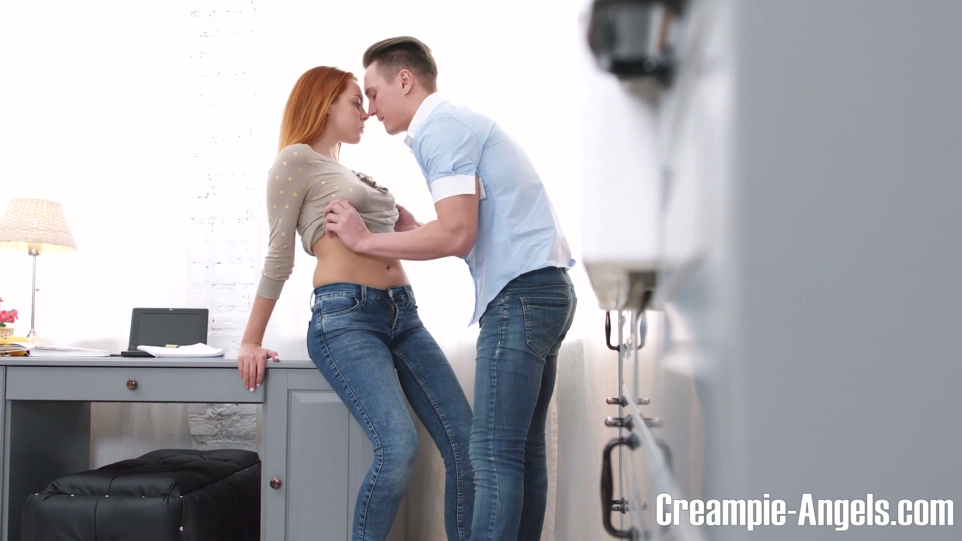Yummy ginger student Candy Red gets her pussy creampied on the first date