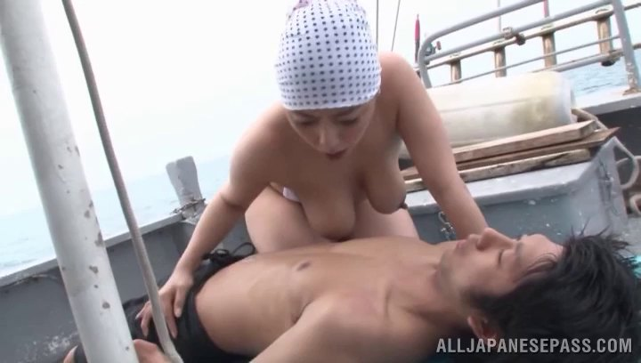 Passionate Japanese couple fucking hardcore on a boat