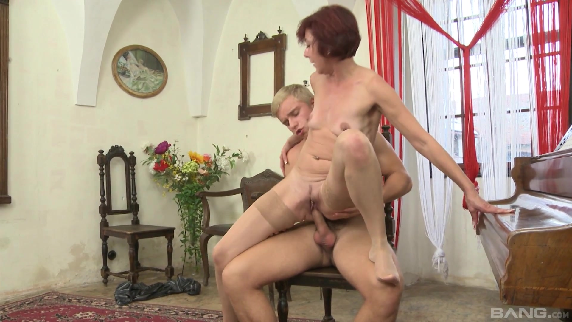 Auntie loves riding the young cock of her nephew