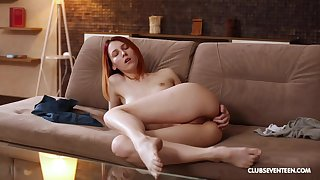 Redhead moans when fingering the ass in soft modes
