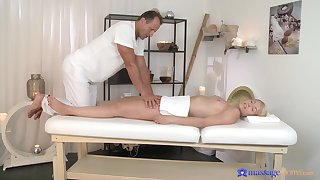 Sexual delight in scenes of soft massage for a young blonde