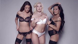 Lexi Dona, Silvia Dellai, Sybil and Lovita Fate pose together in lingerie