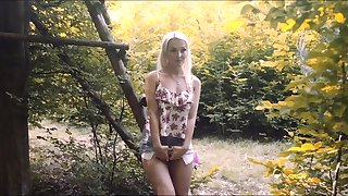 Passionate outdoors fucking in the local woods with Lovita Fate