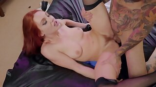 Tattooed man is lucky enough to fuck ginger girl in stockings