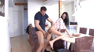 Foxy brunette Mandy gets fucked good and earns cum in mouth
