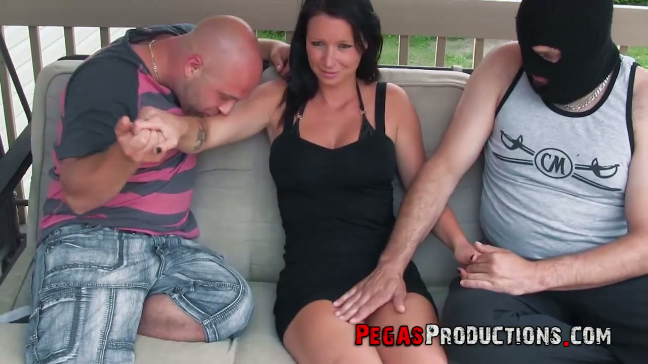Canadian slut Peaches Gold gives a titjob after hardcore threesome sex