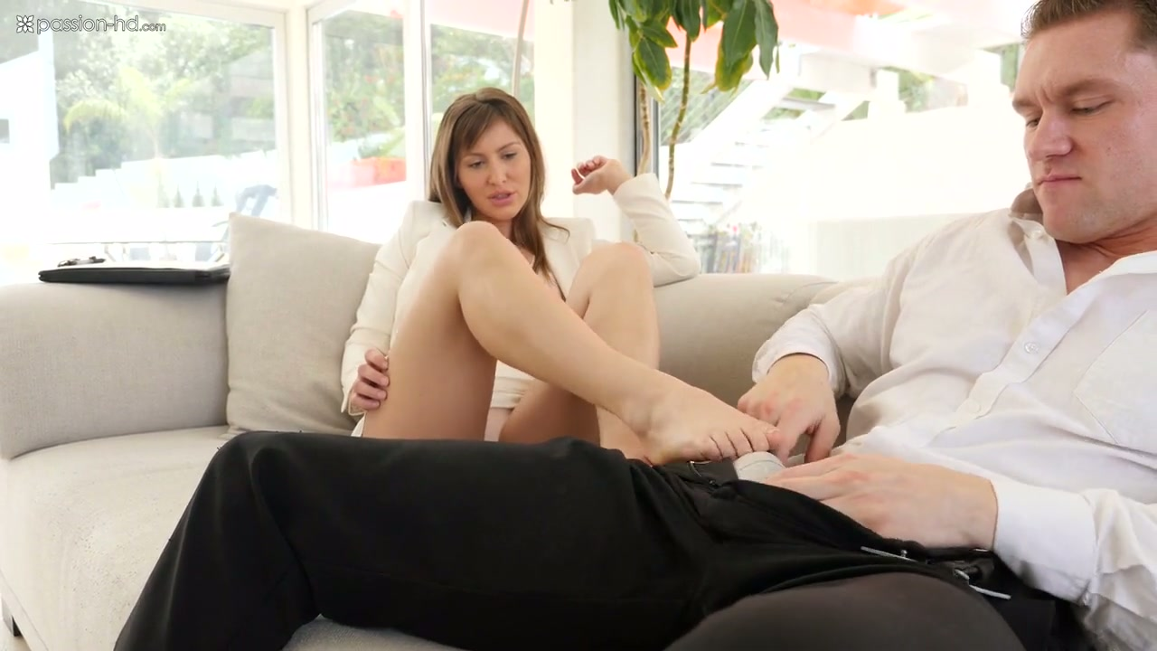 Passionate footjob is what dude is treated with by bootyful Paige Owens