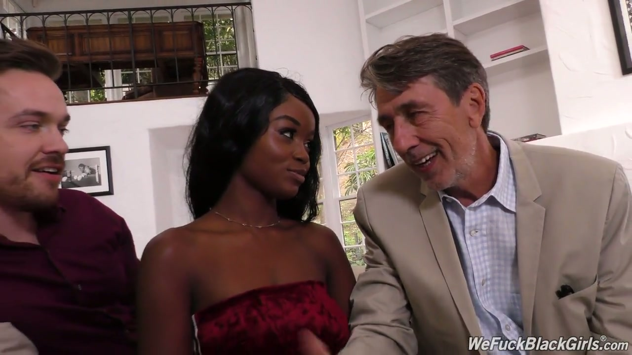Long legged ebony slut Kandie Monaee is fucked by white studs well